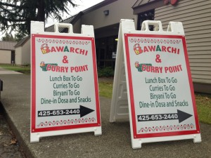 A-signs with reflective vinyl for Bawarchi of Bellevue, Wa