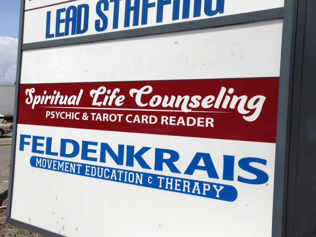 Backlit vinyl graphics for Spiritual Life Counseling of Woodinville, Wa