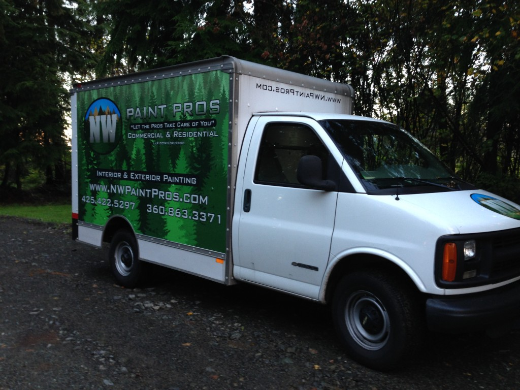 Box Van Graphics for NW Paint Pros of Clearview, Washington.