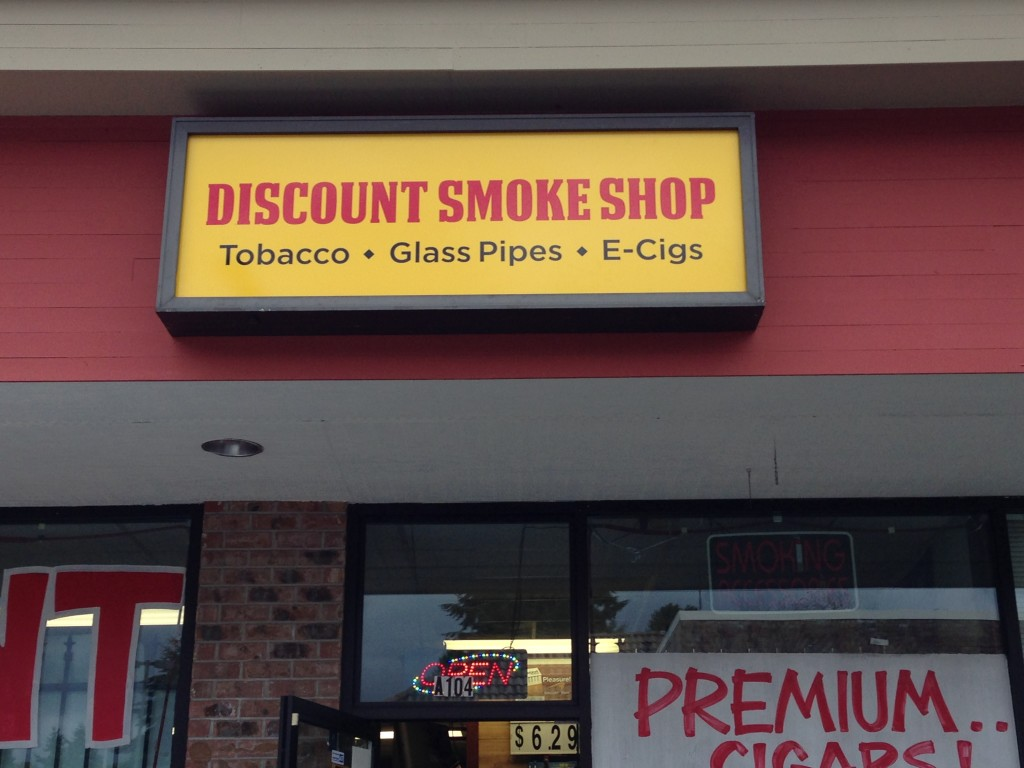 Discount Smoke backlit sign by Vinyl Lab NW of Lynnwood