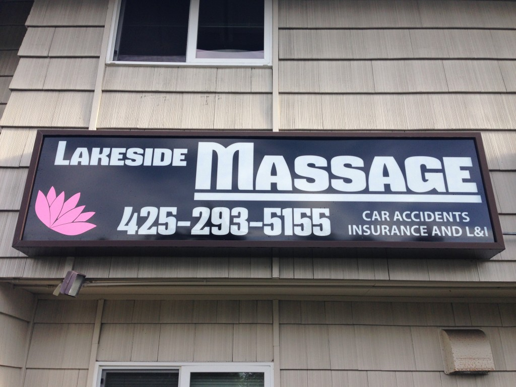 Lakeside Massage Backlit sign by Vinyl Lab NW of Lynnwood
