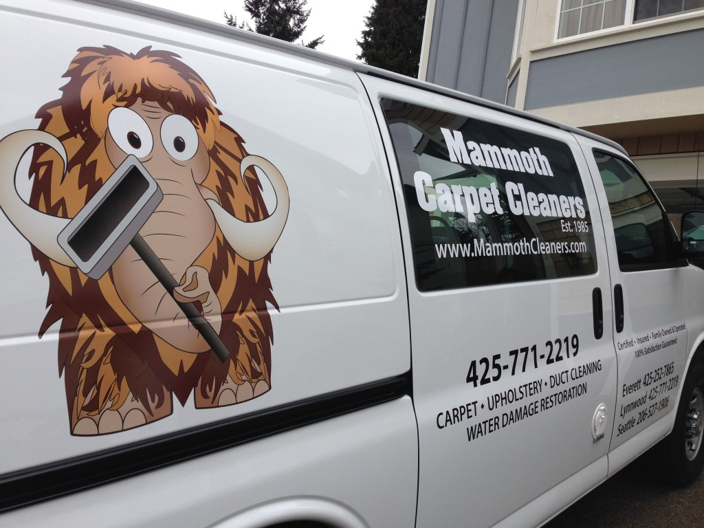 Custom van graphics for Mammoth Cleaners of Edmonds.