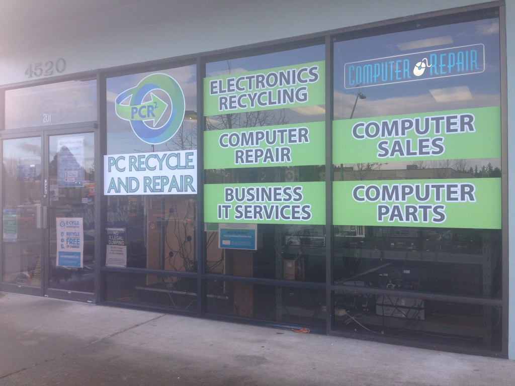 storefront window graphics for PC Recycle and Repair by Vinyl Lab NW of Lynnwood