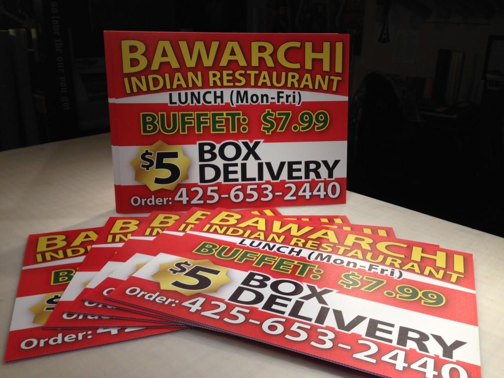 Bawarchi yard signs corrugated plastic