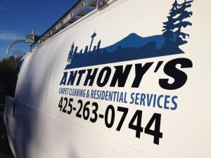 Van logos and lettering for Anothony's carpet cleaning of Lynnwood.