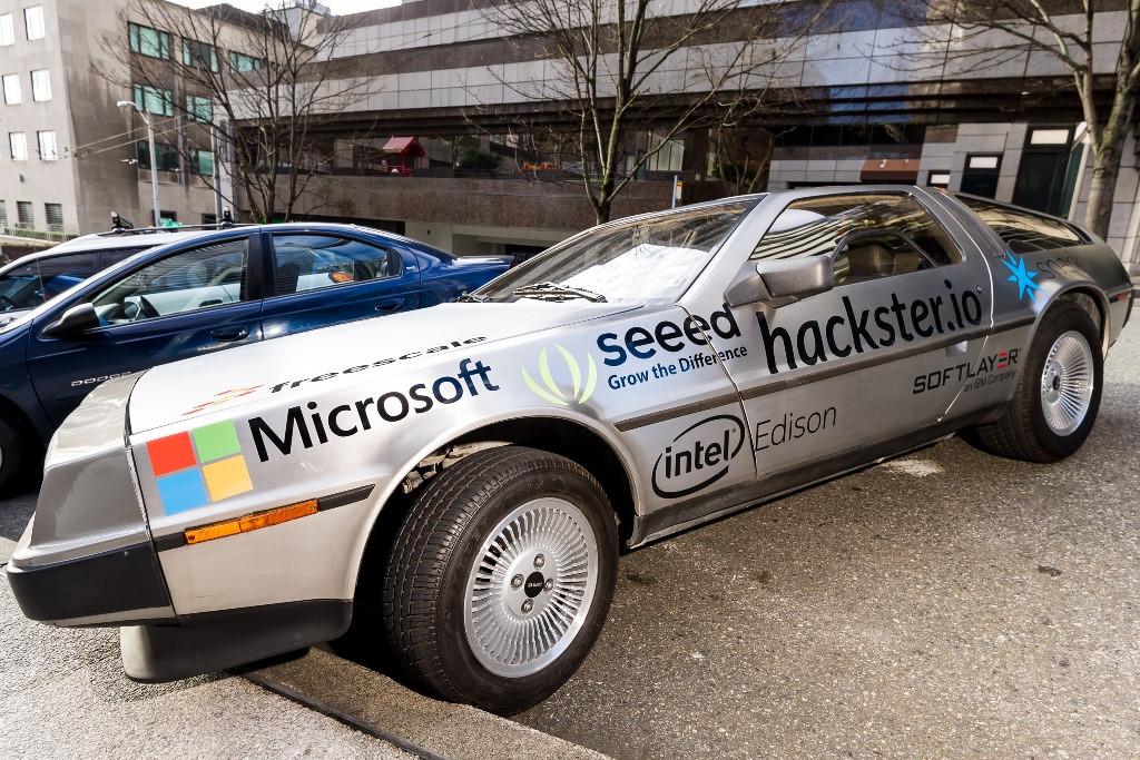 custom sponsorship graphics for Hackster's DeLorean