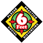 COVID 19 Floor Decal asking to practice social distancing by staying 6 feet apart