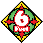COVID 19 Floor decal indicating to stay 6 feet apart