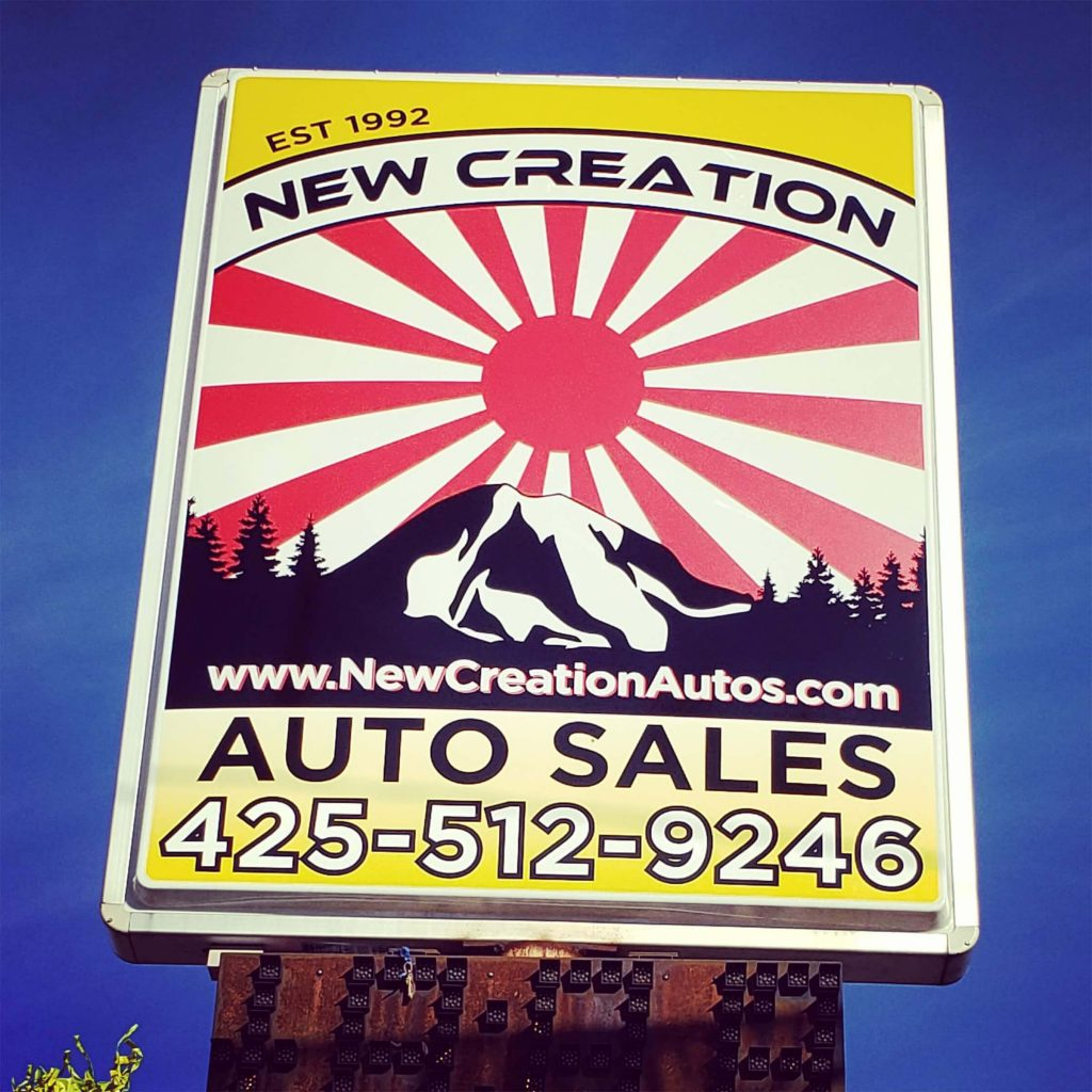 New Creation Auto Sales Backlit Sign