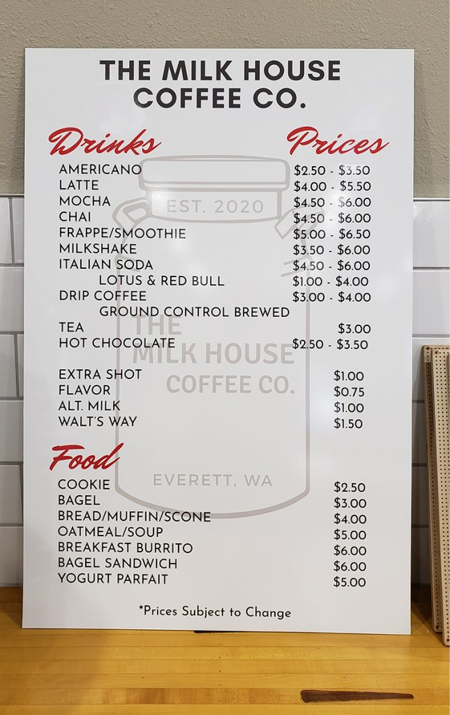 The Milk House coffee machine sign