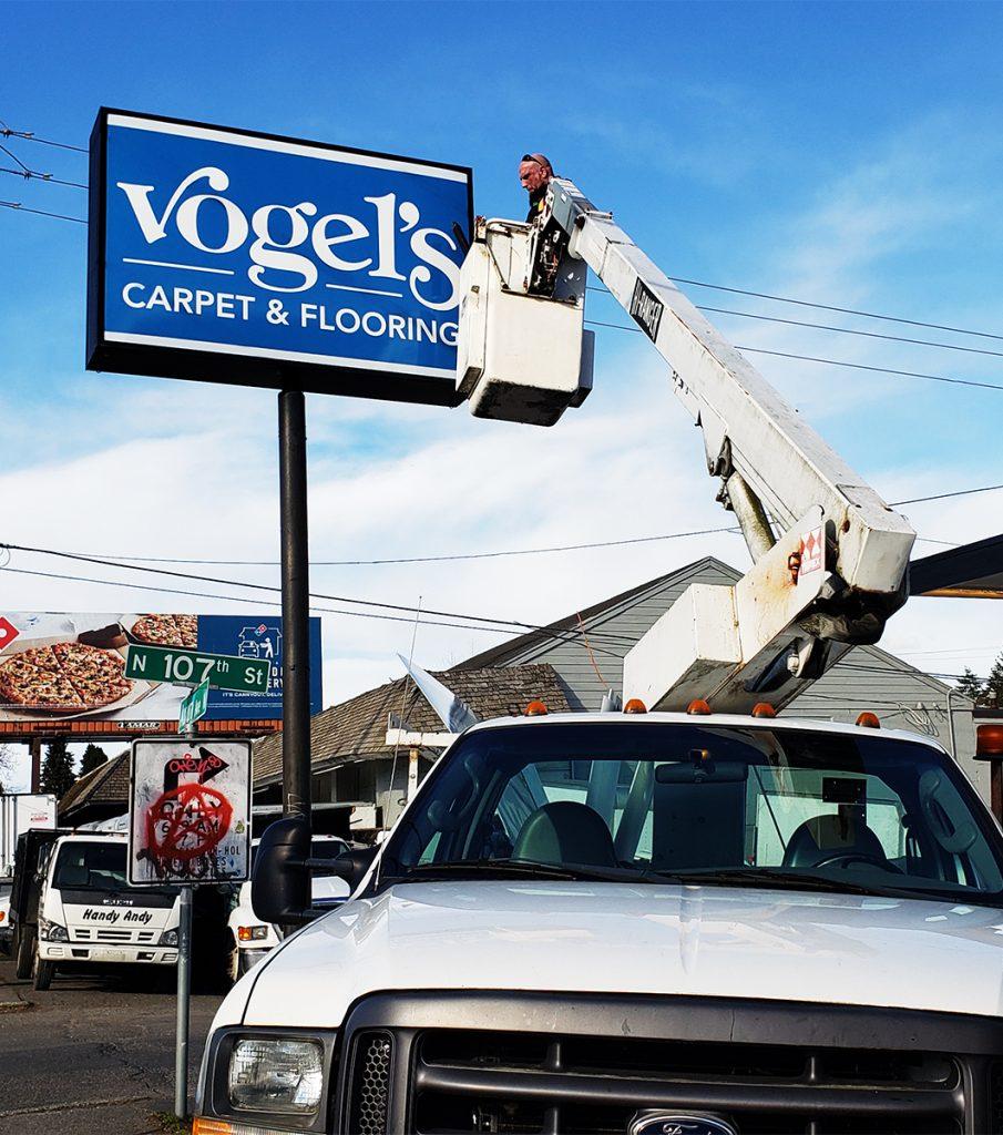 Vogels Backlit Sign Boom Truck